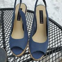 Steven Madden Womens 9m Blue Canvass High Heel Open Toe Shoes Photo