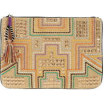 Steven Steve Madden Jkai Women's Large Zip Pouch Clutch Bag Embellished  Photo