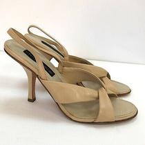 Steven Sz 9.5 Nude Twist Heeled Sandals Heels Leather Open Toe Slingback Womens Photo