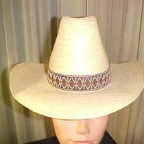 Stevens Western Hat Beige Straw Cowboy Cowgirl Size 6 1/2 Free Shipping Photo