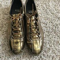 Stewart Weitzman Women's Leather Shoes 9 Gold Lace Flat Sneaker Driving Photo