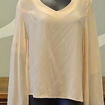 Stitch Knot Anthropologie Blush Pink Silk High Low Blouse Top - Medium Photo