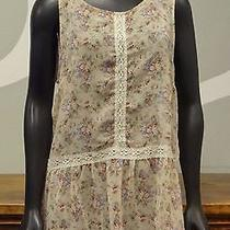 Stitch Xstitch Blush Pink Floral Print Semi Sheer High Low Sleeveless Top - L Photo