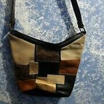 stone&co Small Black Brown Beige Leather Shoulder Hobo Tote Satchel Purse Bag Photo