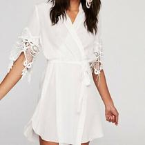 Stone Cold Fox Anthropologie White Silk Lace Bridal Wrap Robe Tunic Dress Photo