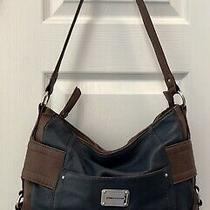 Stone Mountain Navy Blue Vegan Leather Shoulder Hobo Tote Satchel Purse Bag Photo