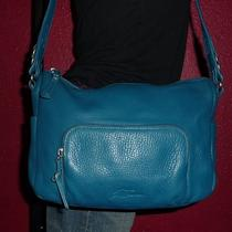 Stone Mountain Summer Blue Leather Hobo Med Cross Body Tote Shoulder Bag Purse Photo