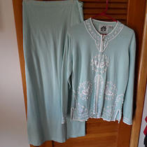 Storybook Knit Light Weight Aqua Sweater and Skirt Set Size M Photo