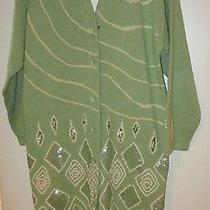 Storybook Knit Size M Long Green Sweater Coat