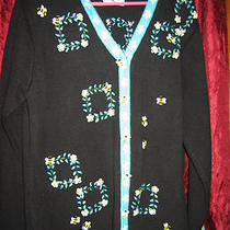 Storybook Knits 1x Plus Bee Business Cardigan Black Aqua Cotton Ramie Bees Photo