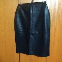Straight Black Leather Skirt Bagatelle 100% Leather Photo