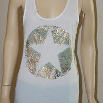 Stranded Captain American Star White Vtg Gold Star Womens Tank Top Shirt S Small Photo