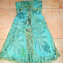 Strapless Laundry Shellie Segal Cocktail Dress Silk Chiffon 6 Aqua Boldgeometric Photo