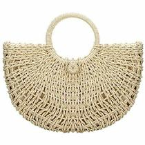 Straw Bags for Womenhand-Woven Large Hobo Round Handle Ring Tote Retro Summer Photo