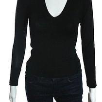 Strenesse Gabriele Strehle Black Long Sleeve v-Neck Sweater Sz S  Photo