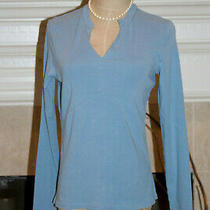 Stretch Gap Women Size M Cotton Spandex Blend L/s v-Neck Blue Tee T-Shirt Top Photo