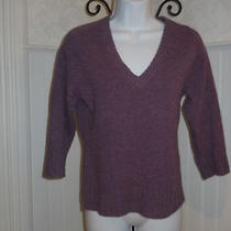 Stretch Valentine Purple Lambs Wool Pullover  v-Neck Sweater S Photo