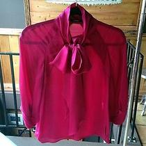 Striking Fuschia Gucci Silk Scarf Neck Raglan Sleeve Blouse 38 Xs 0 Photo