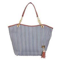 Striped Elegant Shoulder Bag Canvas Purse Photo