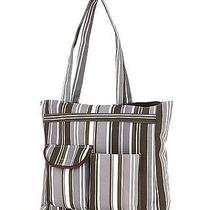 Striped Print Front Pockets Tote Bag Handbag Lj11t-099 Gift  Photo