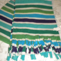 Striped Winter Scarf Purple Green Aqua Blue Long Scarf W Fringe Old Navy Label Photo