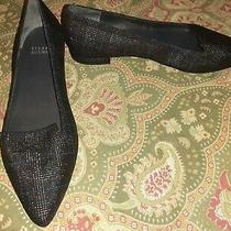 Stuart Weitzman 6.5 Black Blue Flats Loafers Shoes Made in Spain Photo