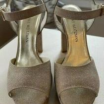 Stuart Weitzman 7w Gold Glitter Platform Heels Peep-Toe Ankle Strap Photo