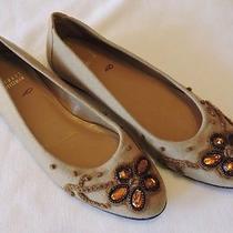 Stuart Weitzman  8.5  Light Brown Jewel Embellished Toe Ballet Flats Photo