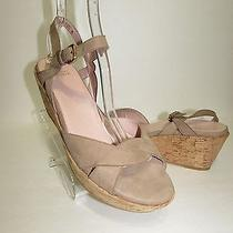 Stuart Weitzman Beige Suede Cork Wedge Shoes Sz 10.5 M New Photo