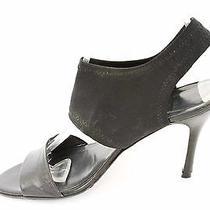 Stuart Weitzman Black Leather and Microfiber Sandals Size 8m  546 S615 Photo
