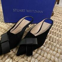 Stuart Weitzman Black Leather Bree Kitten Heel Mule Size 8 Photo