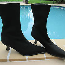 Stuart Weitzman Black Microfiber Ankle Boot  Heel Sz 7.5m Photo