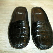 Stuart Weitzman Black Mock Aligator Mules 5m Photo