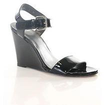 Stuart Weitzman Black Patent Leather Ankle Strap Wedge Sandal Sz 6 Photo