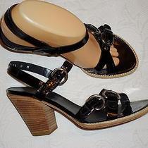Stuart Weitzman Black Patent Leather Sandals Heels - 8 M Photo