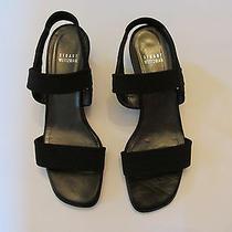 Stuart Weitzman Black Stretchy Microfiber Sandals Size 8 Photo