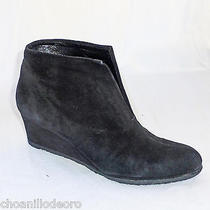 Stuart Weitzman Black Suede Covered Wedge Ankle Front Vent Boot 7m Nwob Classic Photo
