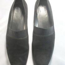 Stuart Weitzman Black Suede Loafer Elastic at Top Wedge Heel 8 1/2 M Photo