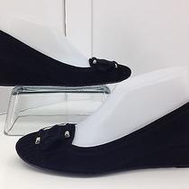Stuart Weitzman Black Suede Womens Wedge Shoes Buckle Heels Size  7n Photo
