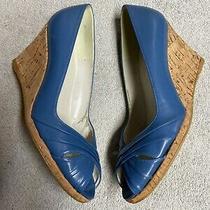 Stuart Weitzman Blue Leather Cork Wedge Heels Dress Shoes Size Sz 6 Medium Med M Photo