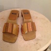 Stuart Weitzman Bronze Jaccard Brojac Sandals Heels Womens 75 B Spain Euc Photo