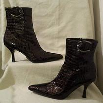 Stuart Weitzman  Brown Croco Print Patent Leather Ankle Boots Size 8m Photo