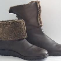 Stuart Weitzman Brown Cuffed Fur-Lined Wedge Bootie - Size 7.5m Photo