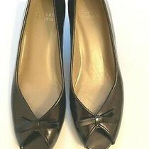 Stuart Weitzman Brown Leather Peep Toe With Bow and Kitten Heels 6 1/2m Photo