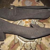 Stuart Weitzman Brown Perforated Micro Suede Brass Buckle Pumps Heels Shoes 7 N  Photo