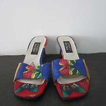 Stuart Weitzman Butterfly Bright Colourful Mule Kitten Heel Shoes 7.5 Aa Photo