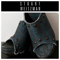 Stuart Weitzman Denim Studded Mule Slide Wedge Platform Heels Photo