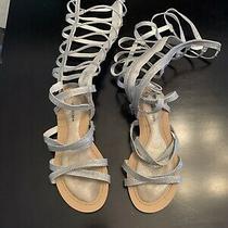 Stuart Weitzman Girls 4 Gladiator Sandals Sparta Champagne Silver Strappy Photo