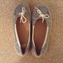 Stuart Weitzman Girls  Size 1 Blue and White Sequins Canvas Flats/shoes Photo