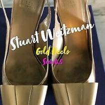 Stuart Weitzman Gold Bow Platform Heels Size 6.5 Photo